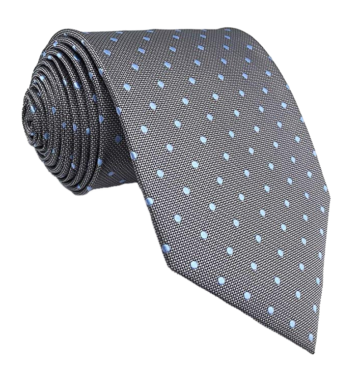 Blue dotted grey tie by S&L