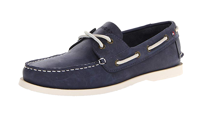 Navy leather boat shoes by Tommy Hilfiger