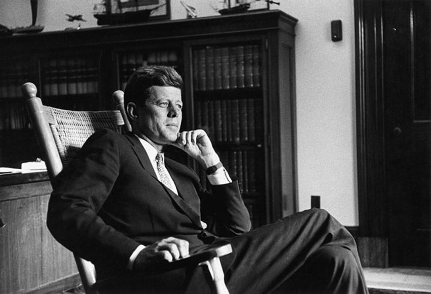 Kennedy wearing a Brooks Brothers suit
