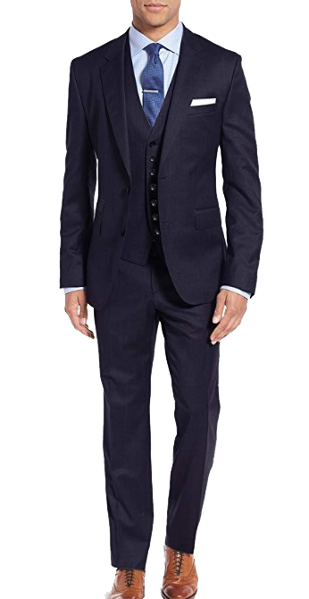 Three-piece navy suit by Salvatore Exte
