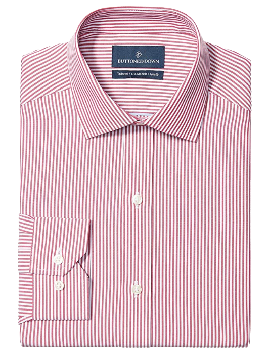 Tailored-fit white-stripe pink shirt by Buttoned Down