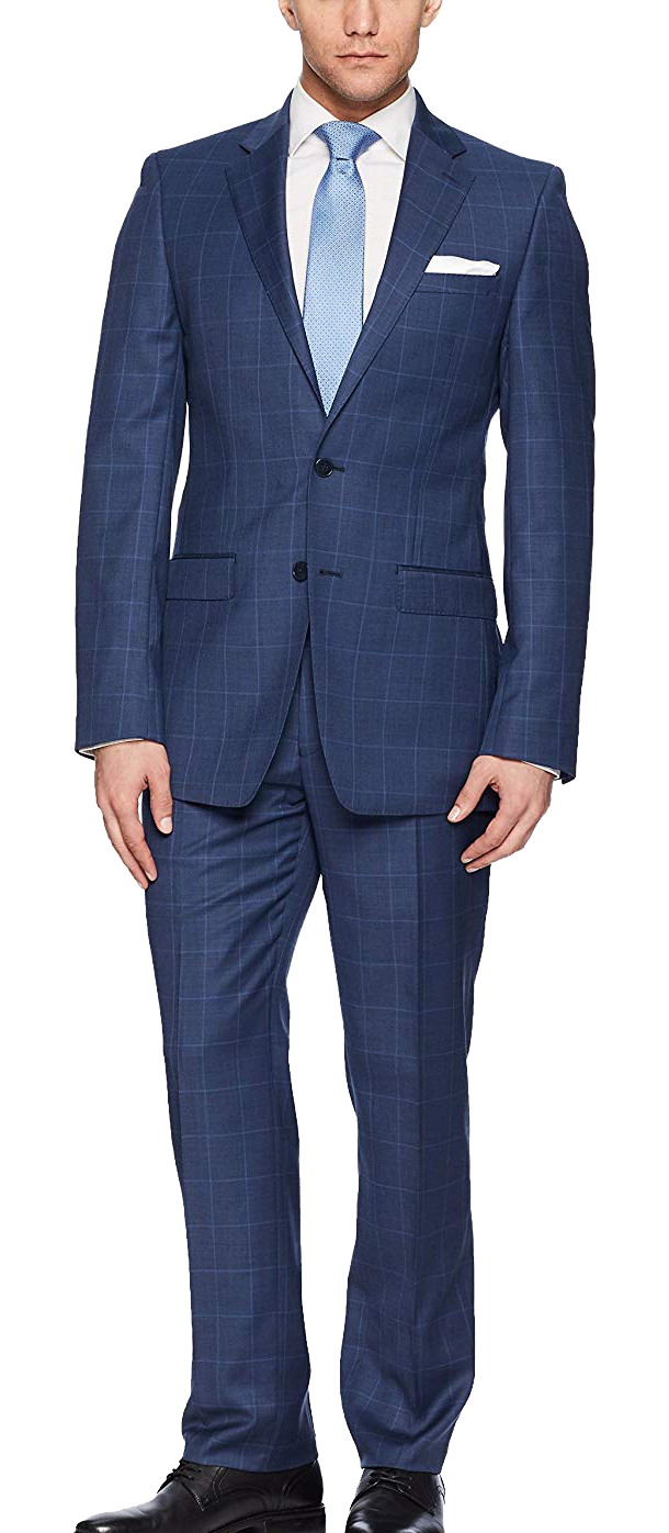 Slim fit navy suit by Calvin Klein