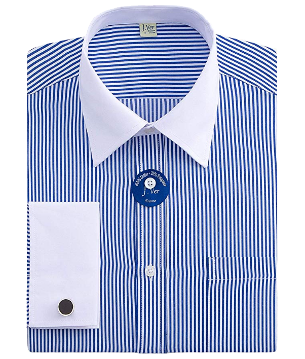 Regular-fit blue shirt with a white collar by J.Ver