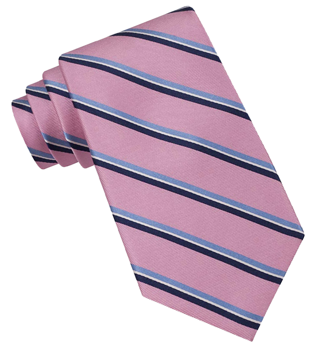 Blue-striped pink tie by Tommy Hilfiger