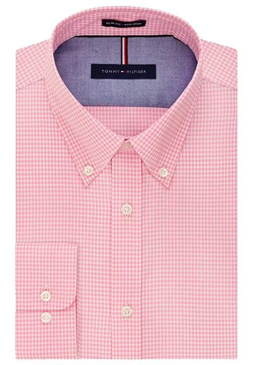 Slim-fit pink gingham shirt by Tommy Hilfiger