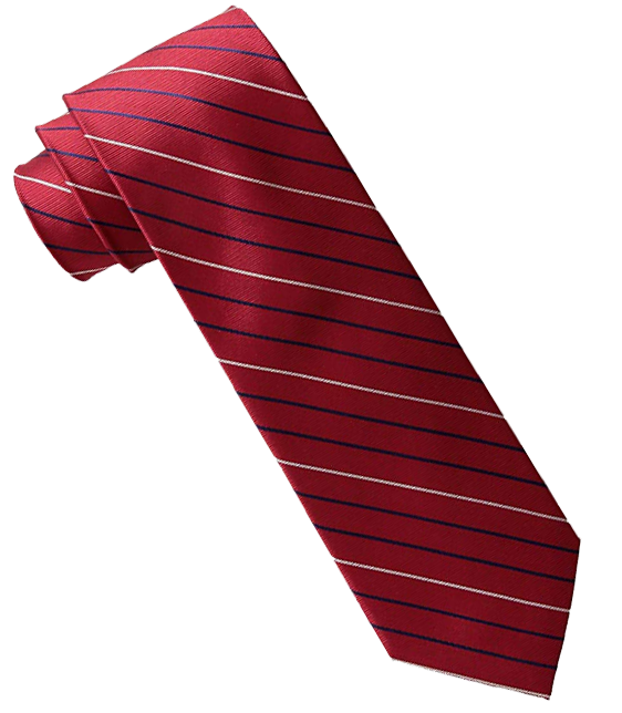 Red tie with black/blue/white stripes by Tommy Hilfiger