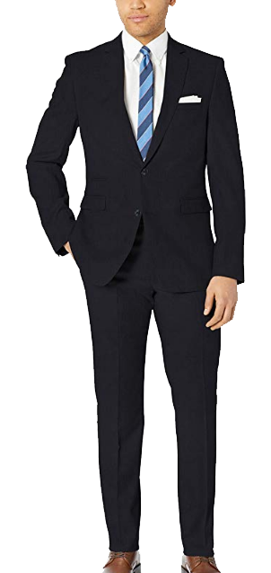 Stretch slim-fit navy suit by Vince Camuto