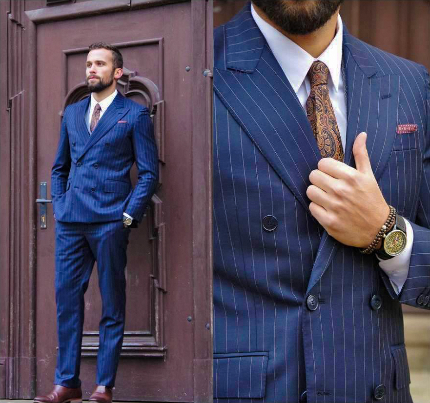 Double-breasted blue pinstriped suit