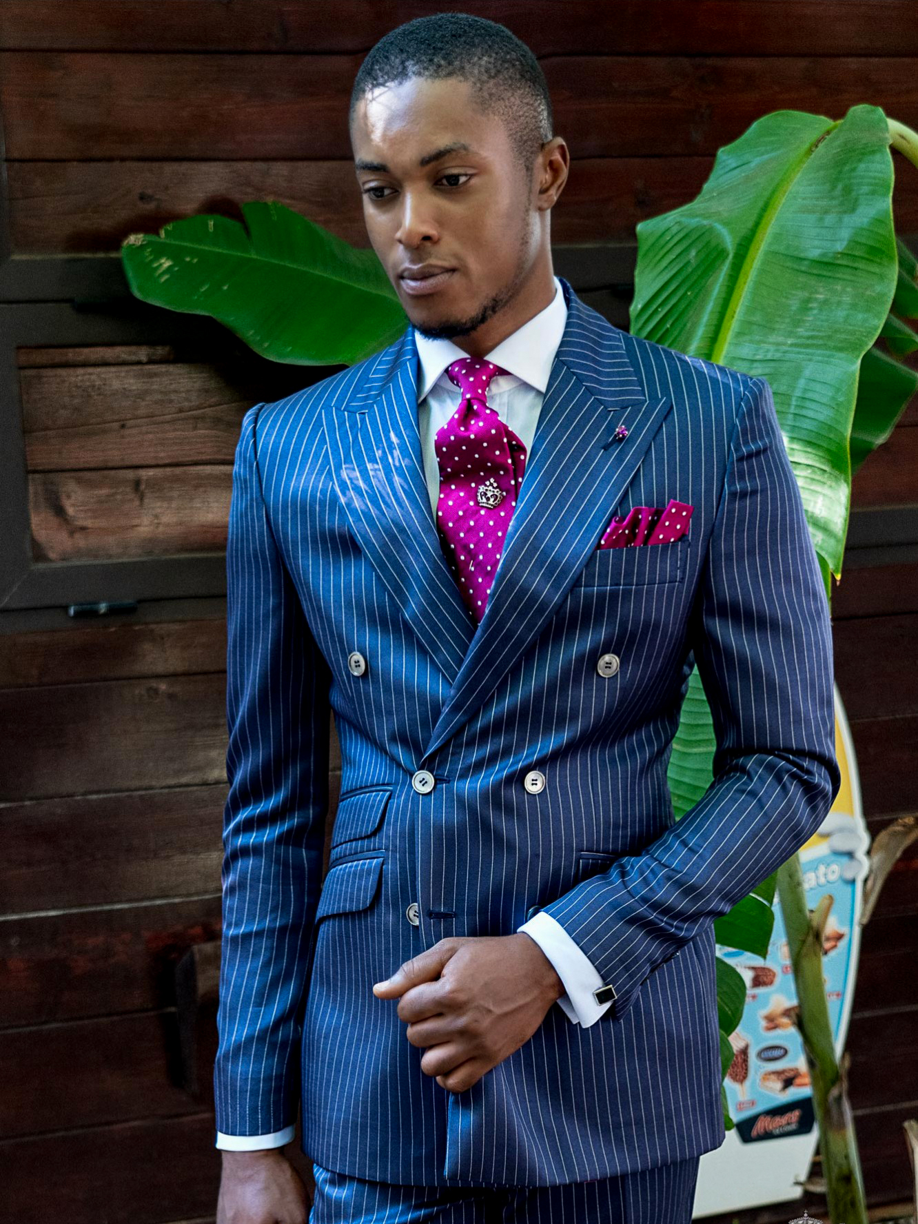 Pinstriped double breasted suit
