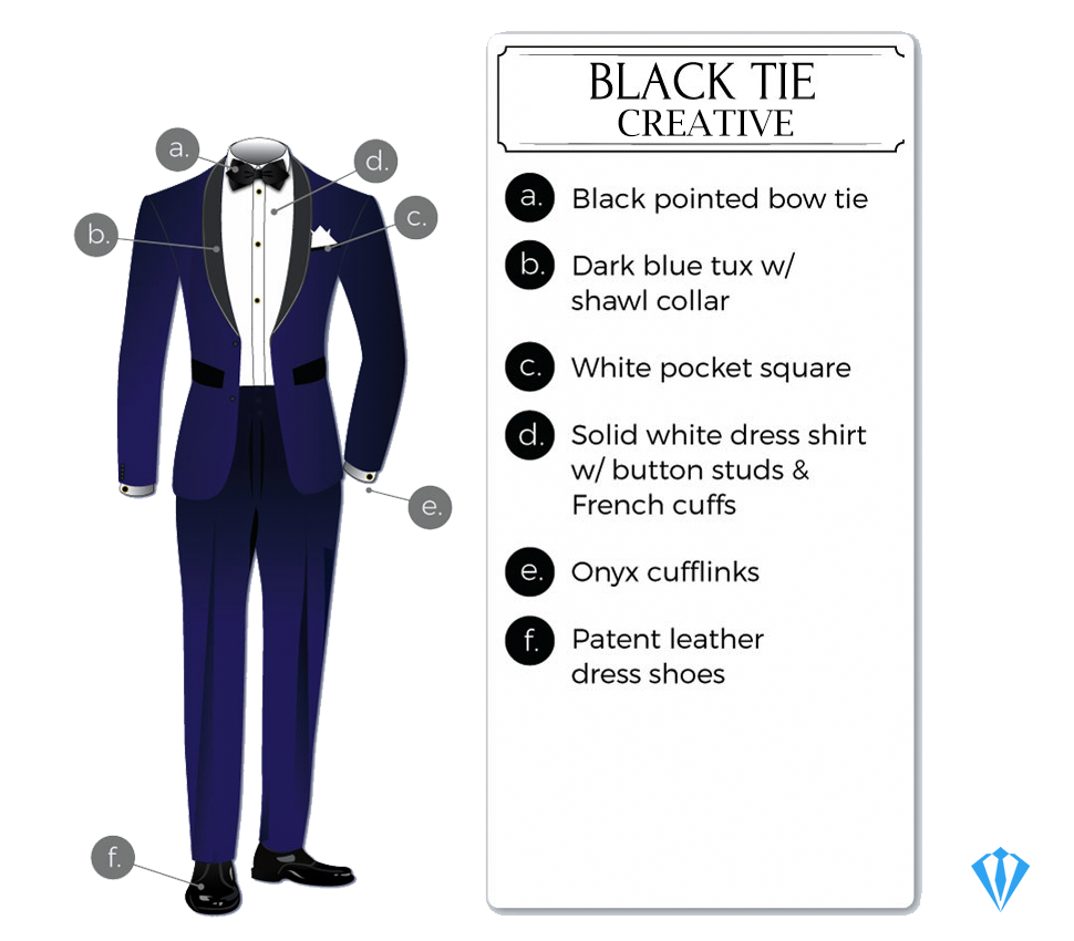Black-tie creative dress code tuxedo attire