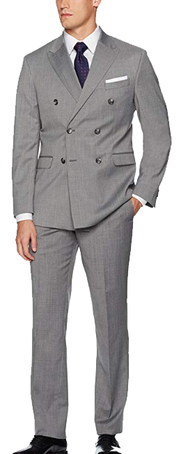 Light-grey double-breasted suit by Kenneth Cole