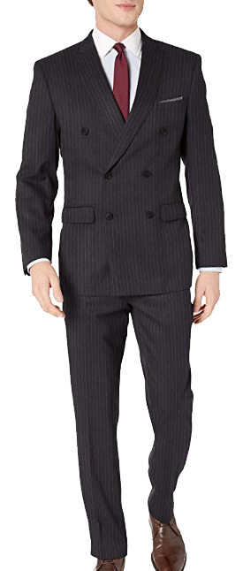 Dark-grey striped double-breasted slim-fit suit by Perry Ellis