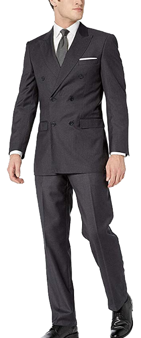 Double-breasted modern-fit charcoal suit by Adam Baker