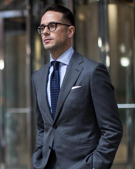 Charcoal grey suit & blue shirt color combination