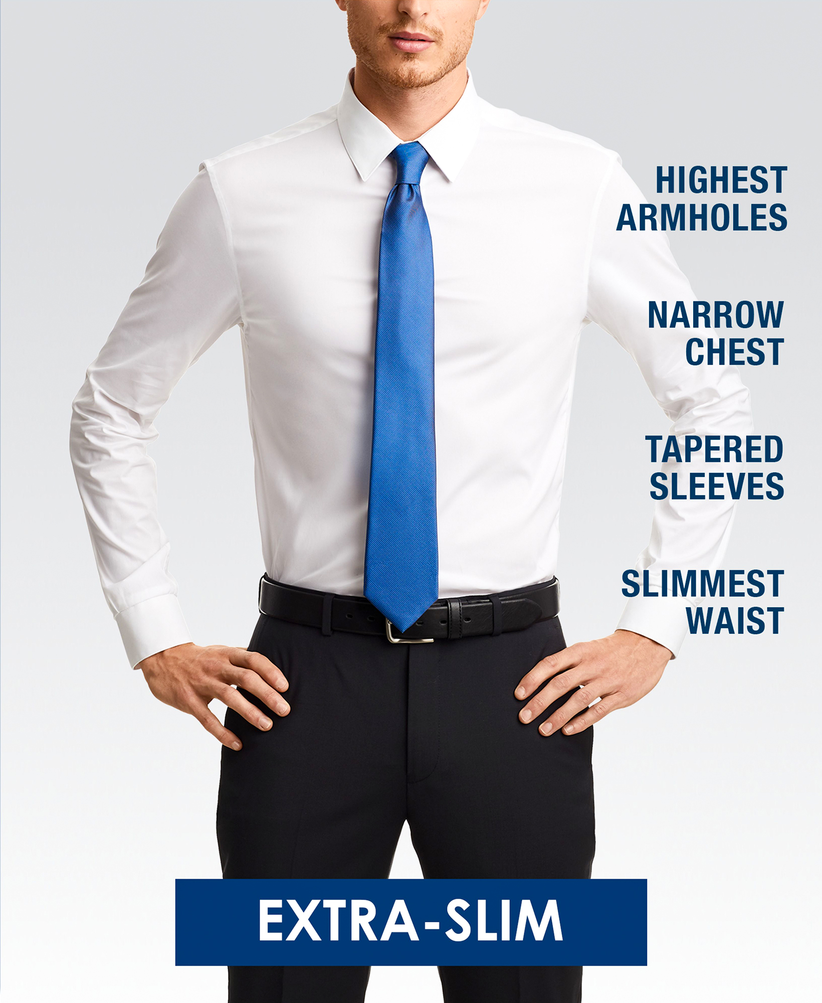 Extra-slim (skinny) fit dress shirt style