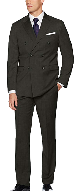 Double-breasted modern-fit charcoal grey suit by Kenneth Cole