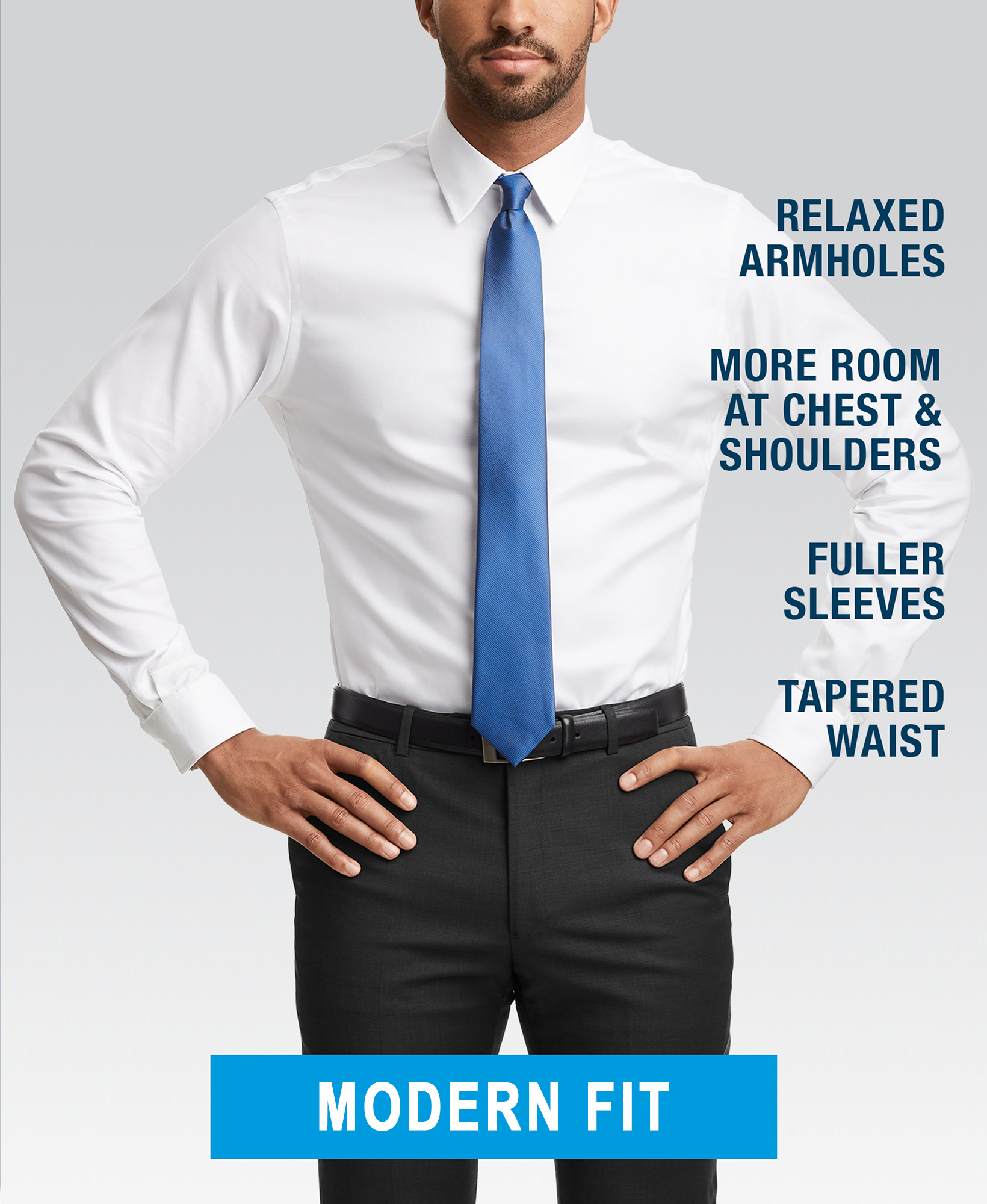 Modern fit dress shirt style