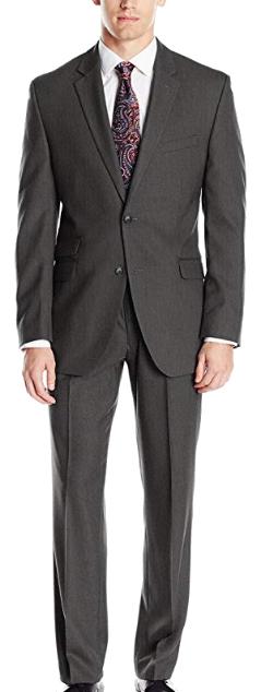 Dark grey slim-fit suit by Perry Ellis
