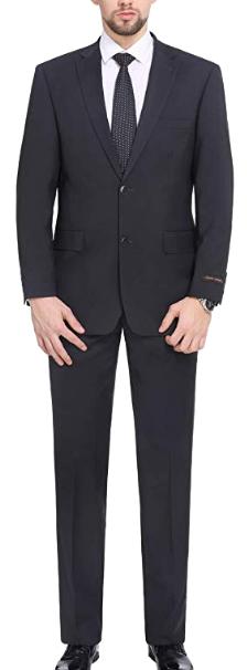 Charcoal classic-fit suit by P&L