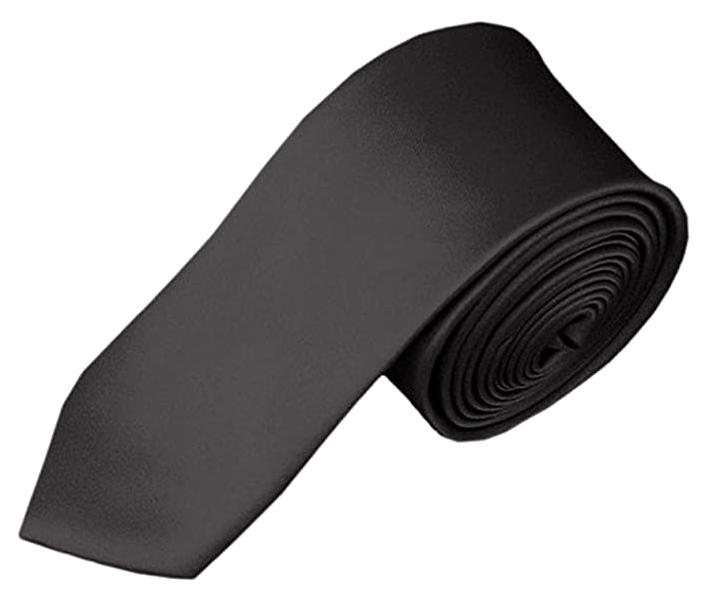 Solid charcoal grey tie by Romario Manzini