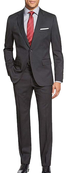 Two-button classic-fit charcoal grey suit by Salvatore Exte