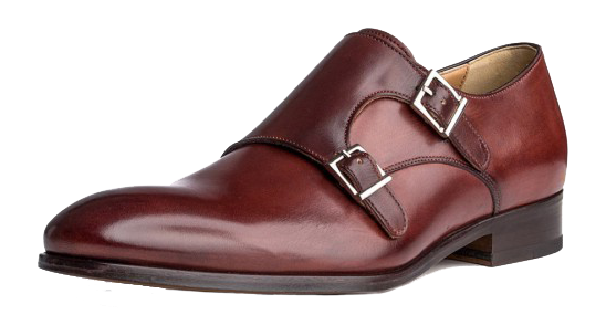 Burgundy leather double monk strap dress shoes by Ace Marks