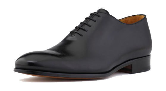 Black leather plain-toe oxford dress shoes by Ace Marks