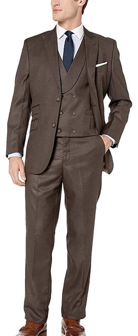 Three-piece brown suit by Adam Baker