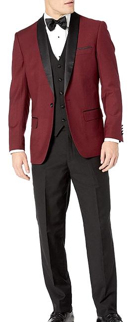 Modern-fit three-piece burgundy tuxedo by Adam Baker