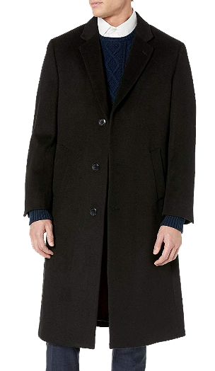 black wool overcoat by Adam Baker