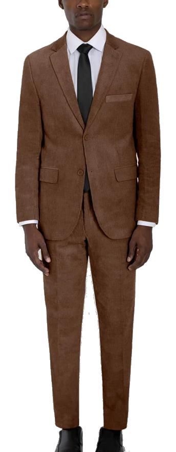 Classic-fit corduroy brown suit by Alain Dupetit