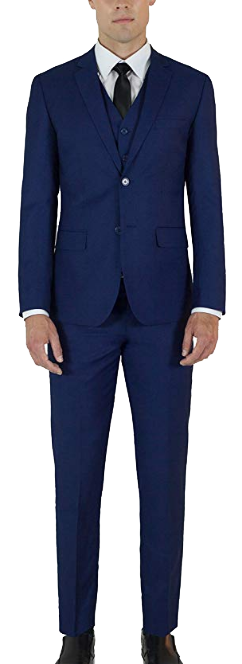 Three-piece modern fit navy suit by Alain Dupetit