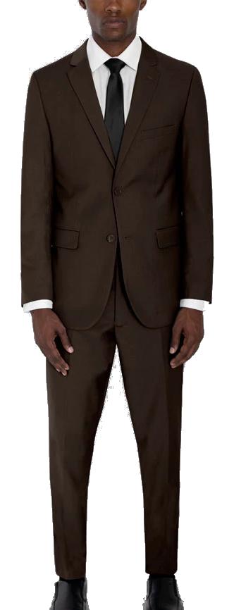 Slim-fit brown suit by Alain Dupetit