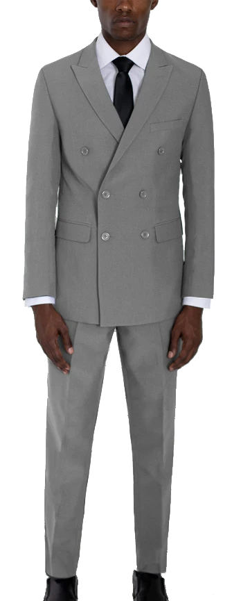 Double-breasted two piece suit by Alain Dupetit