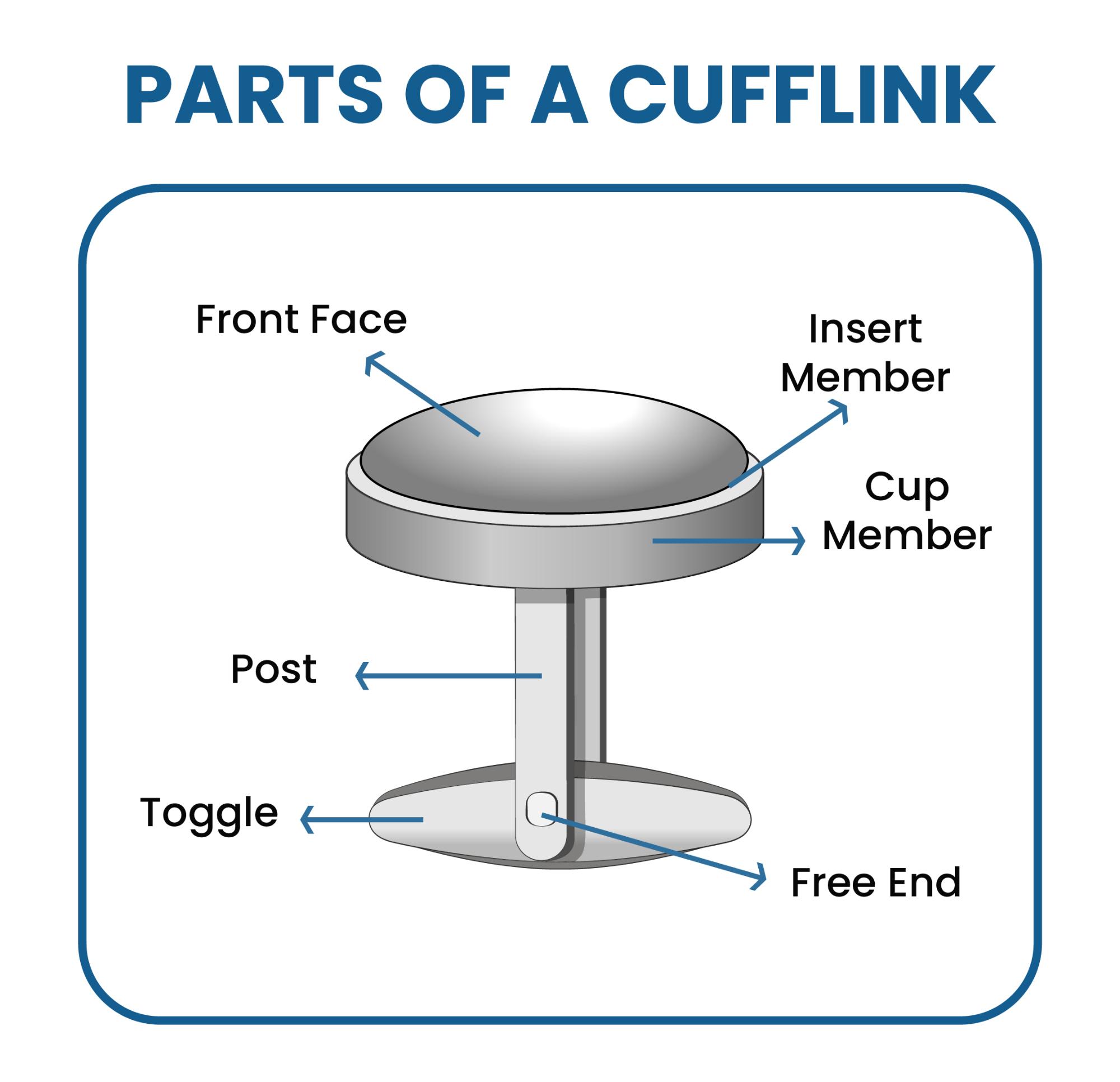 different cufflink parts