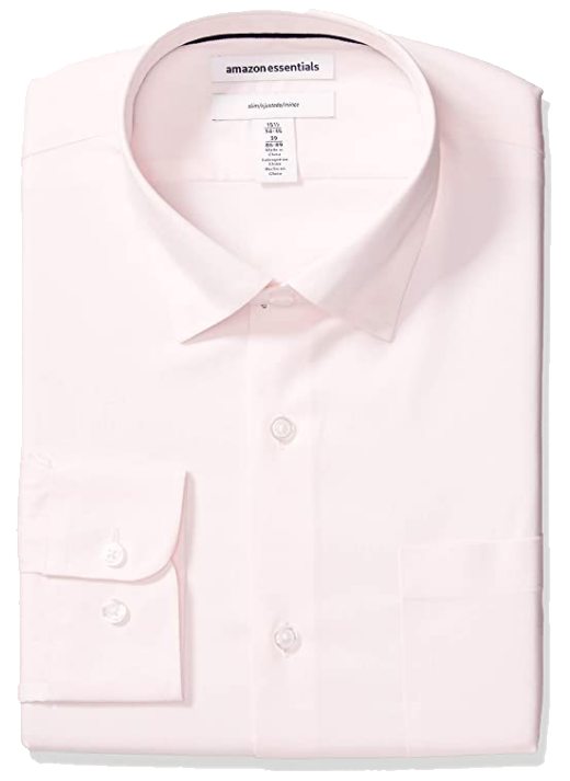 Soft pink slim-fit dress shirt by Amazon Essentials
