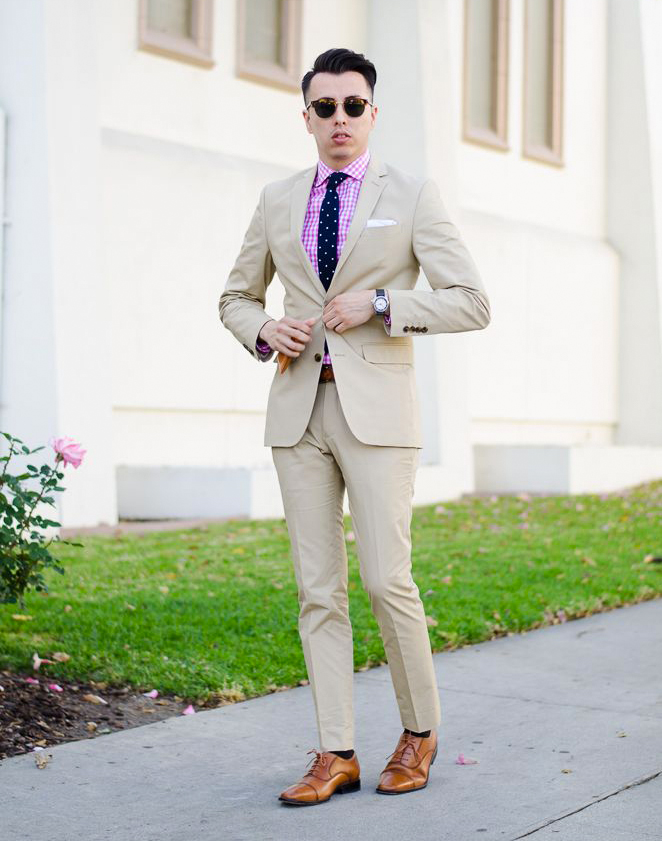 beige suit and pink shirt color combinations