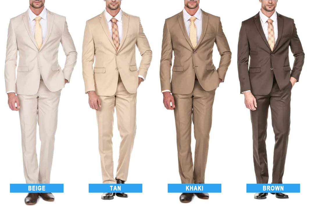 beige vs. tan vs. khaki vs. brown suit