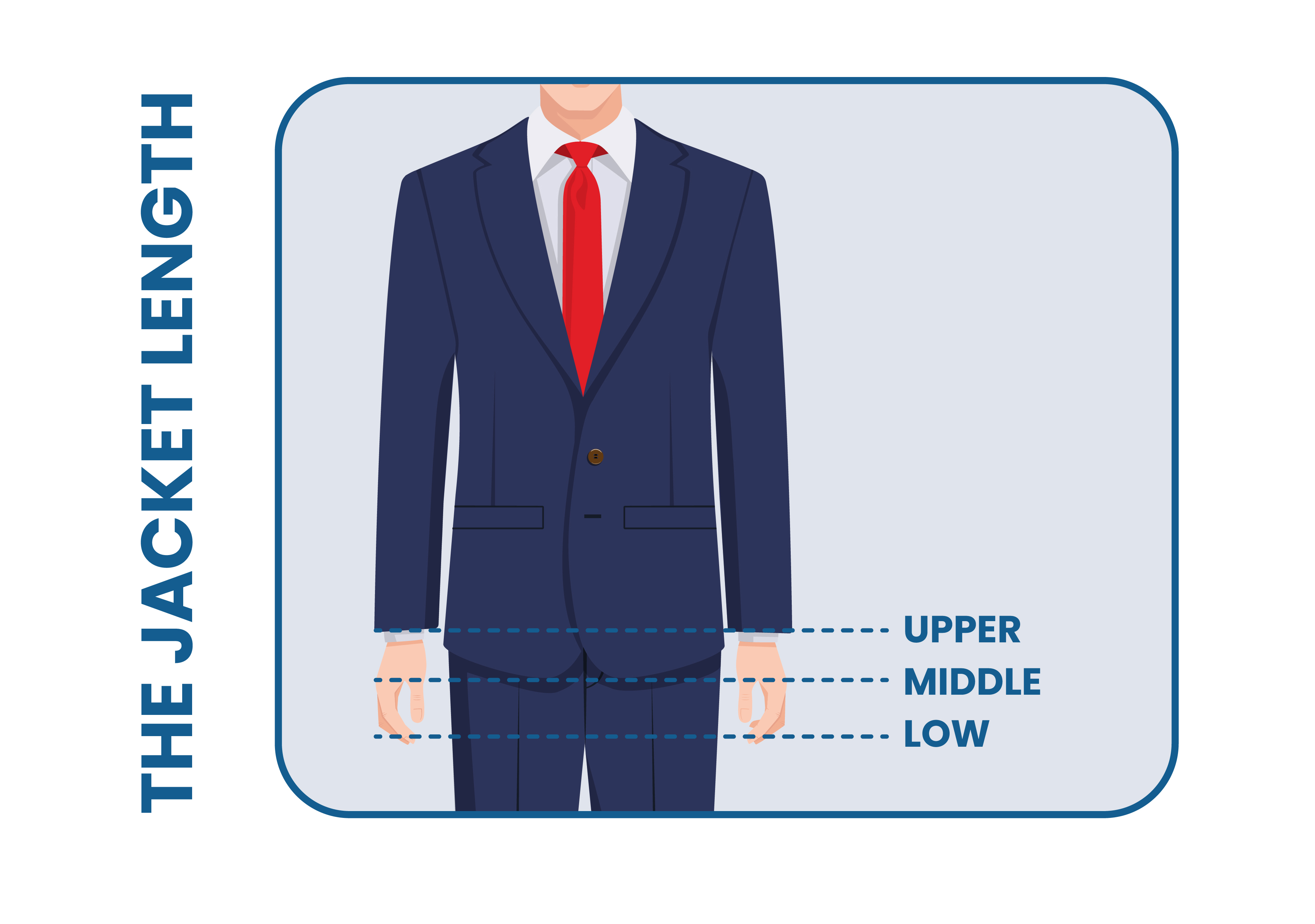 best suit jacket length: adjusted by the waist