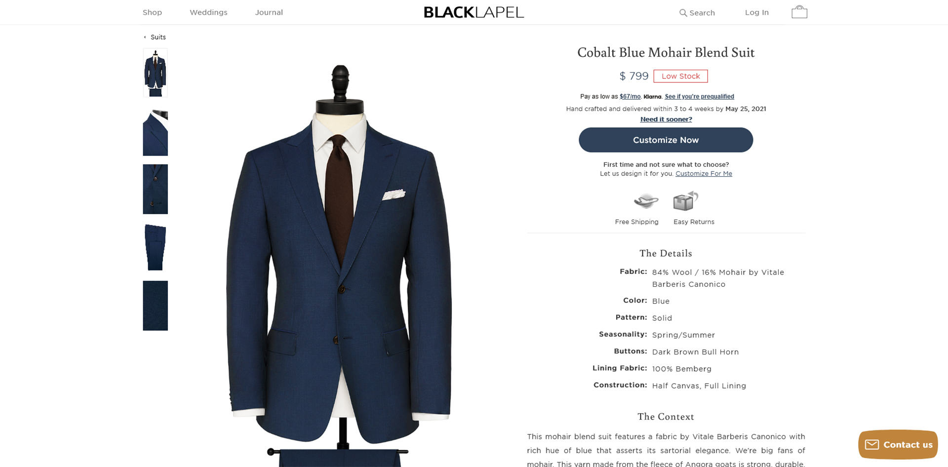 Black Lapel made-to-measure suit online customization