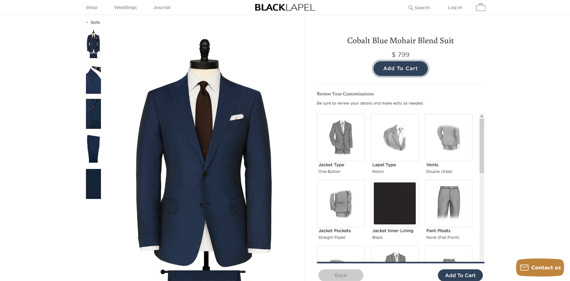 Black Lapel made-to-measure suit style & design options