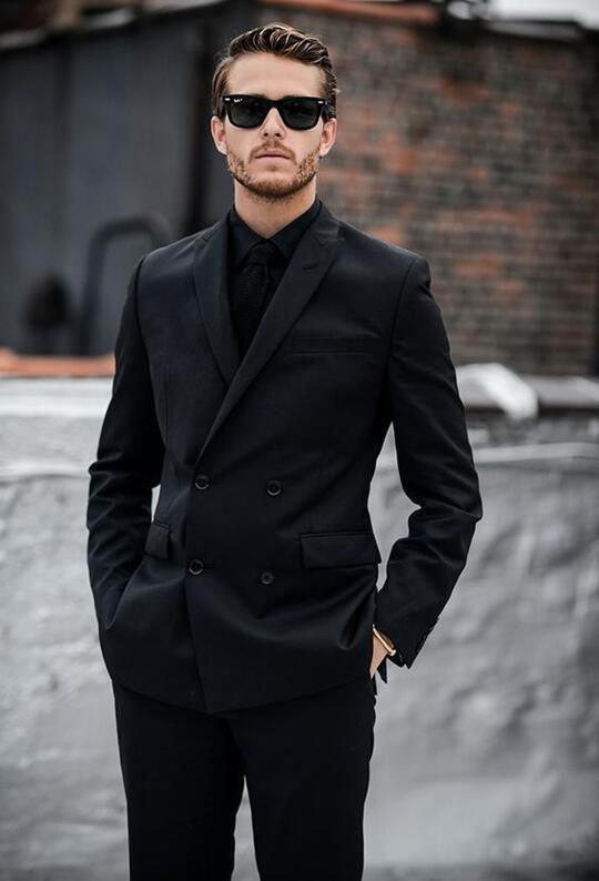 black suit & black shirt color combination