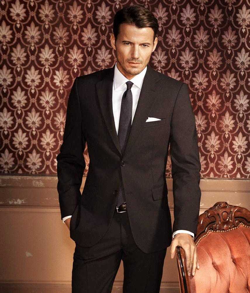 Black suit and white dress shirt color combination
