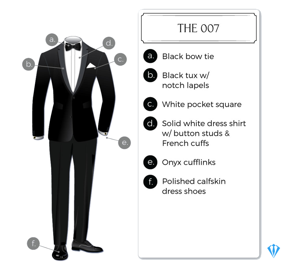 Black tie tuxedo attire for weddings: The 007