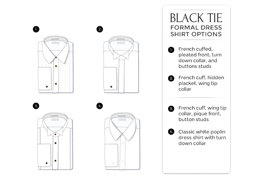 black-tie attire: tuxedo shirts