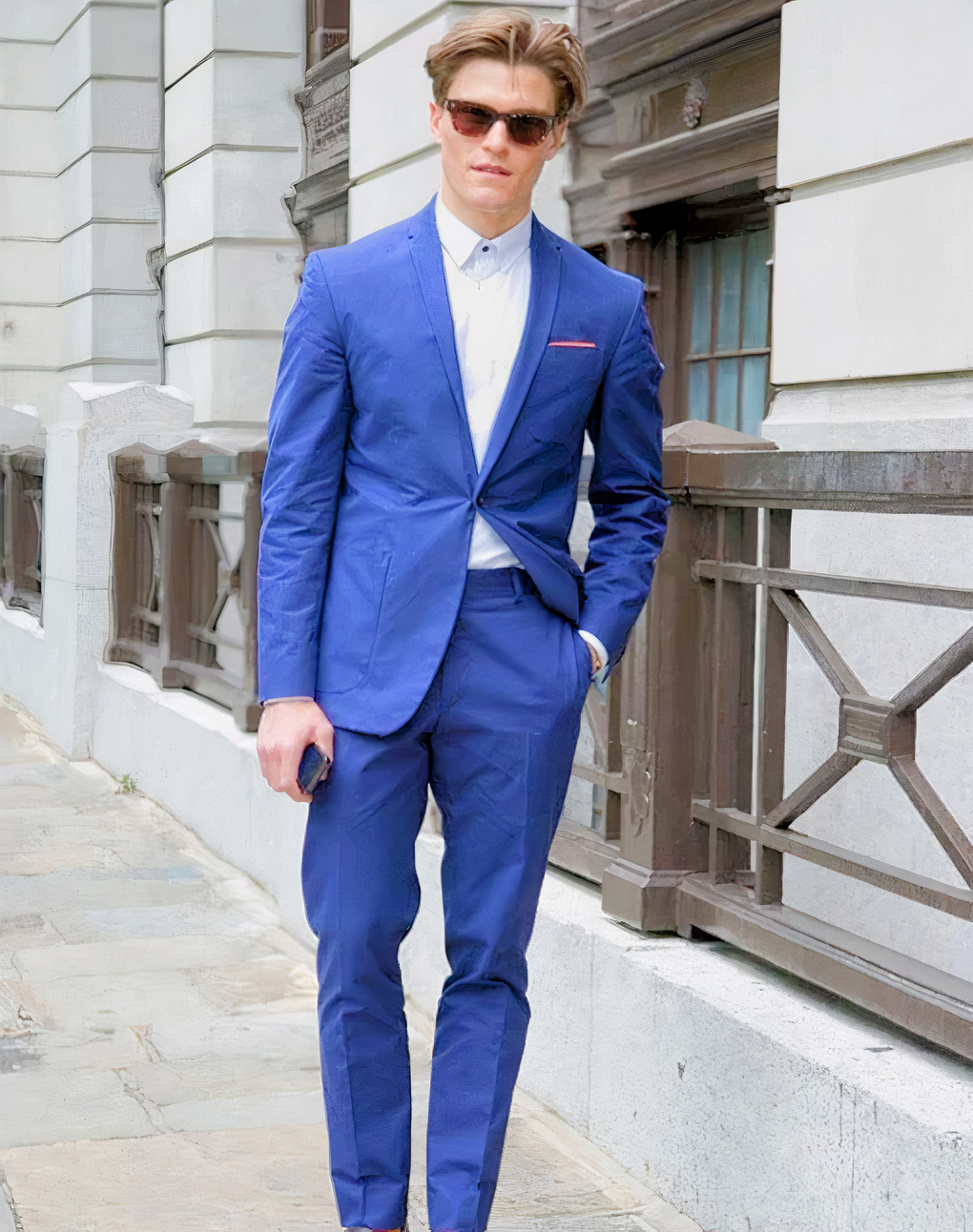 Blue suit and white shirt color combination