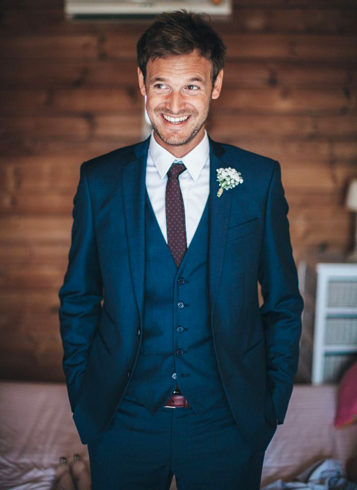 Blue three-piece wedding attire suit