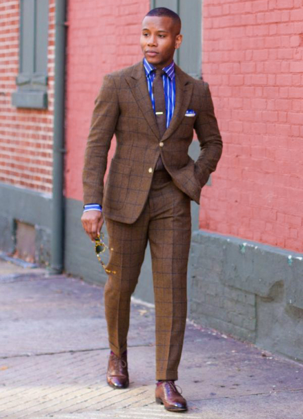 brown shoes are usually the best option for a brown suit