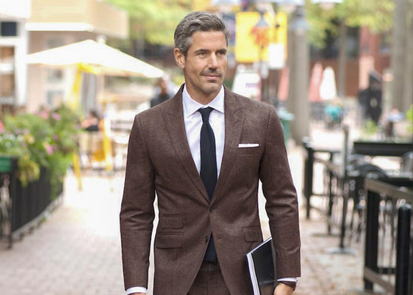 brown suit & white shirt color combinations