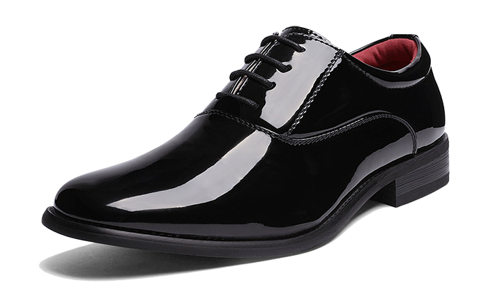 Patent leather black oxford dress shoes by Bruno Marc